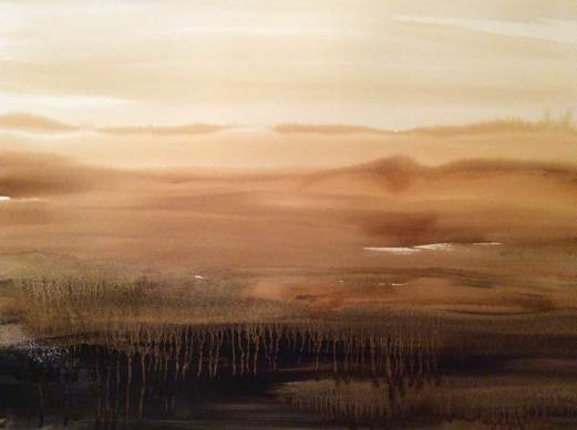 Horizon in Mullingar- coffee and indian ink