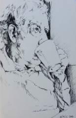 Dad Watching the Birds - biro sketch